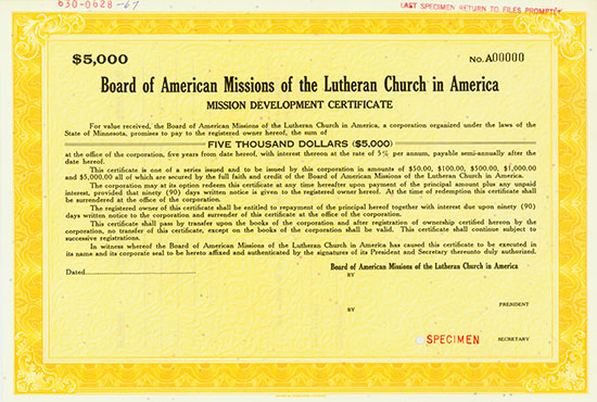 Board of American Missions of the Lutheran Church [3 Stück]