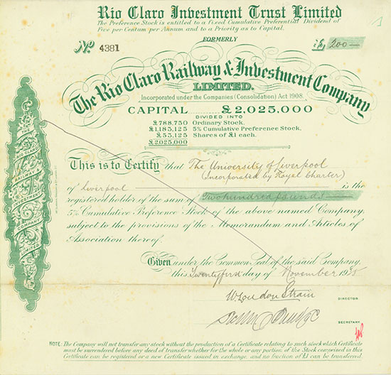 Rio Claro Investment Trust Limited formerly Rio Claro Railway & Investment Company Limited