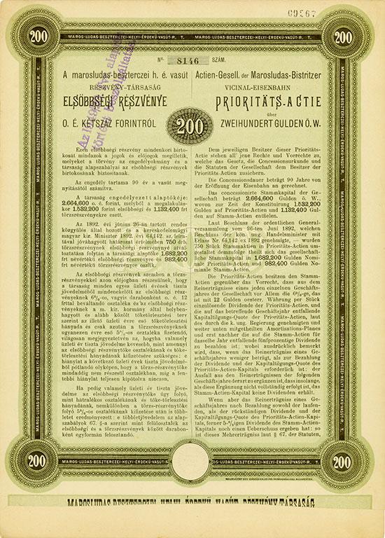 Actien-Gesell. der Marosludas-Bistritzer Vicinal-Eisenbahn