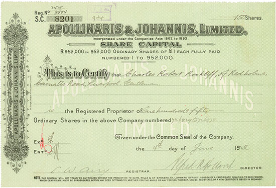 Apollinaris & Johannis, Limited