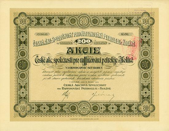 Böhmische Petroleumraffinerie-AG in Kolin / Česká Akciová Společnost pro Raffinování Petroleje v Kolíně
