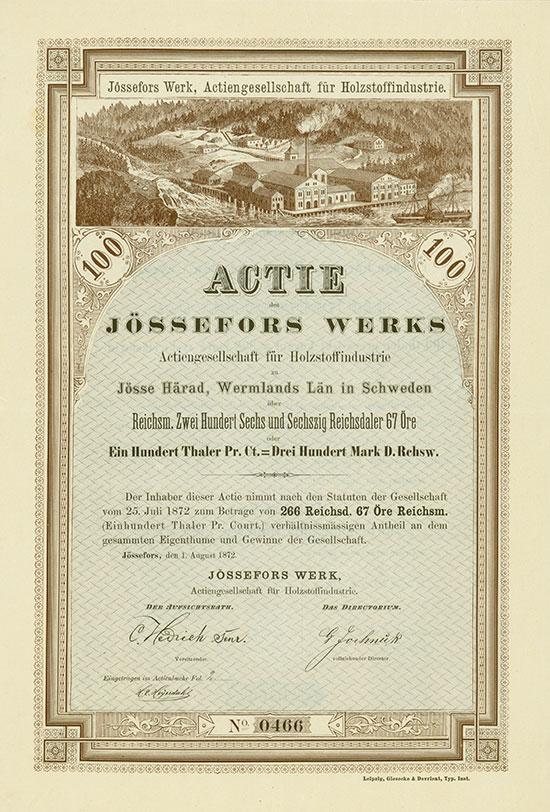Jössefors Werk, Actiengesellschaft für Holzstoffindustrie