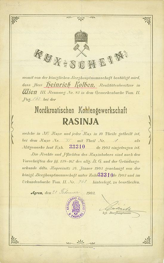 Nordkroatische Kohlengewerkschaft RASINJA