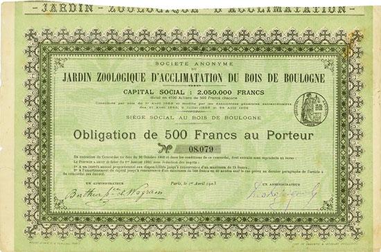 Société Anonyme du Jardin Zoologique d'Acclimatation du Bois de Boulogne