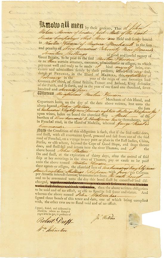 East India Company: Darlehen für Schiffsausstattung mit Wein