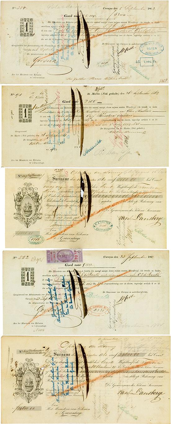 Niederländische Sklaverei-Wechsel mit raren Fiskalstempeln [5 Stück]