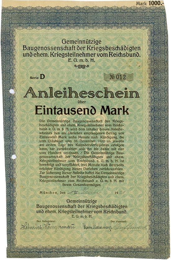 Gemeinnützige Baugenossenschaft der Kriegsbeschädigten und ehem. Kriegsteilnehmer vom Reichsbund E.G.m.b.H.