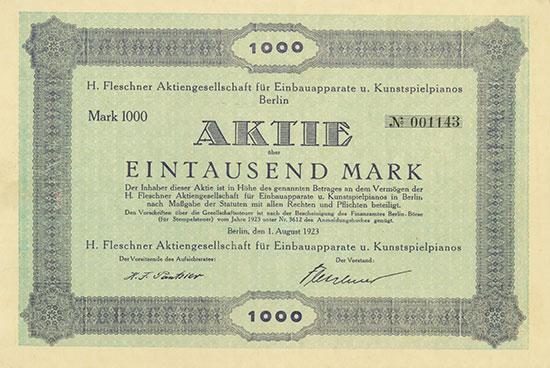 H. Fleschner Aktiengesellschaft für Einbauapparate u. Kunstspielpianos