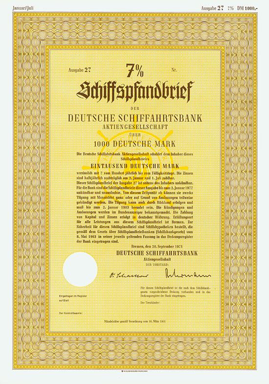 Deutsche Schiffahrtsbank AG [2 Stück]