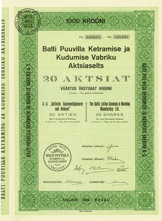 AG Baltische Baumwollspinnerei und Weberei / Baltic Cotton Spinning & Weaving Manufactory Ltd. / Balti Puuvilla Ketramise ja Kudumise Vabriku Aktsiaselts [3 Stück]