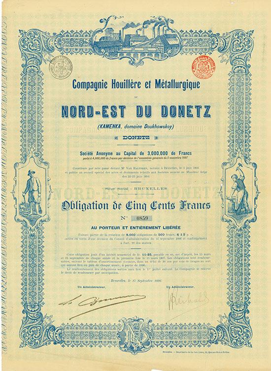 Compagnie Houillére et Métallurgique du Nord-Est Du Donetz (KAMENKA, domaine Doukhowskoy)