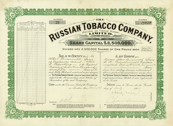 Russian Tobacco Company, Limited (Société de Tabacs Russie)