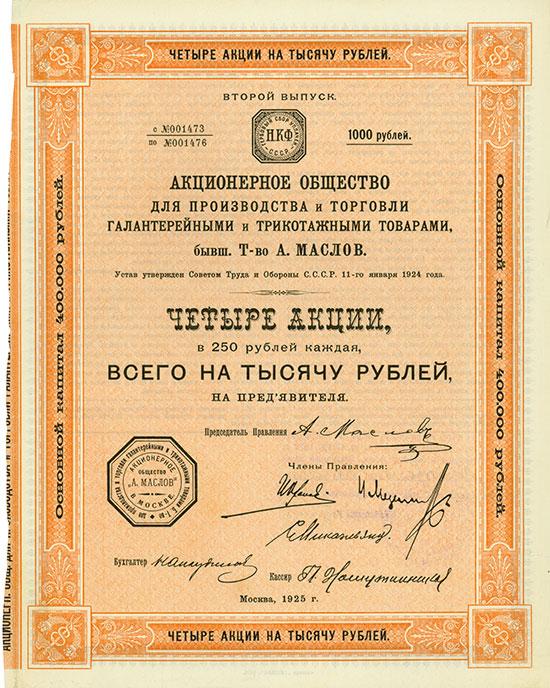 Aktiengesellschaft für Produktion von und Handel mit Galanteriewaren und Trikotageerzeugnissen, vormals Gesellschft von A. Maslow
