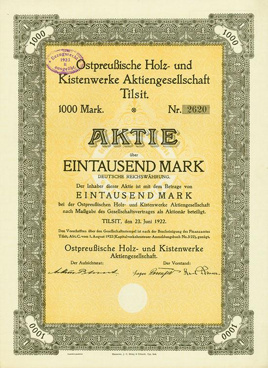 Ostpreußische Holz- und Kisten-Werke AG [3 Stück]