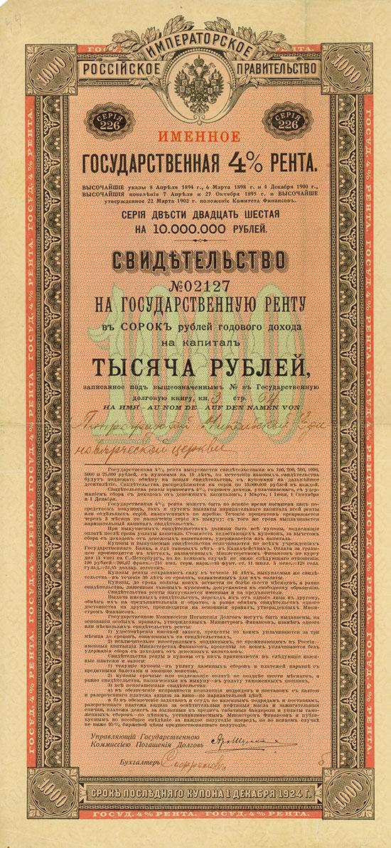 Kaiserlich Russische Regierung - 4 % Staats-Rente