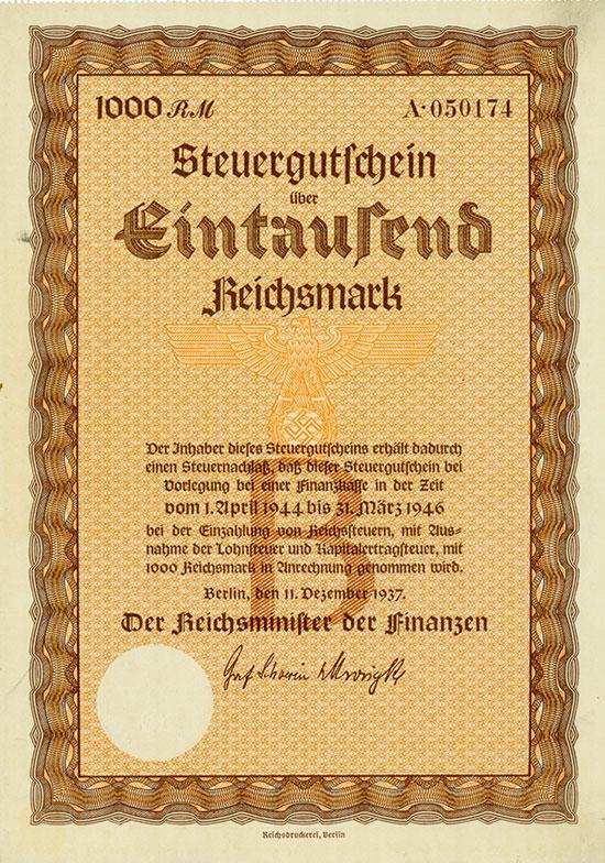 Deutsches Reich: Steuergutschein Serie B 1.000 RM 1937