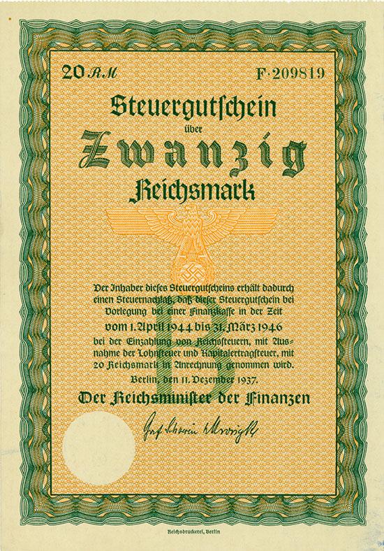 Deutsches Reich: Steuergutschein Serie B 20 RM 1937 [2 Stück]