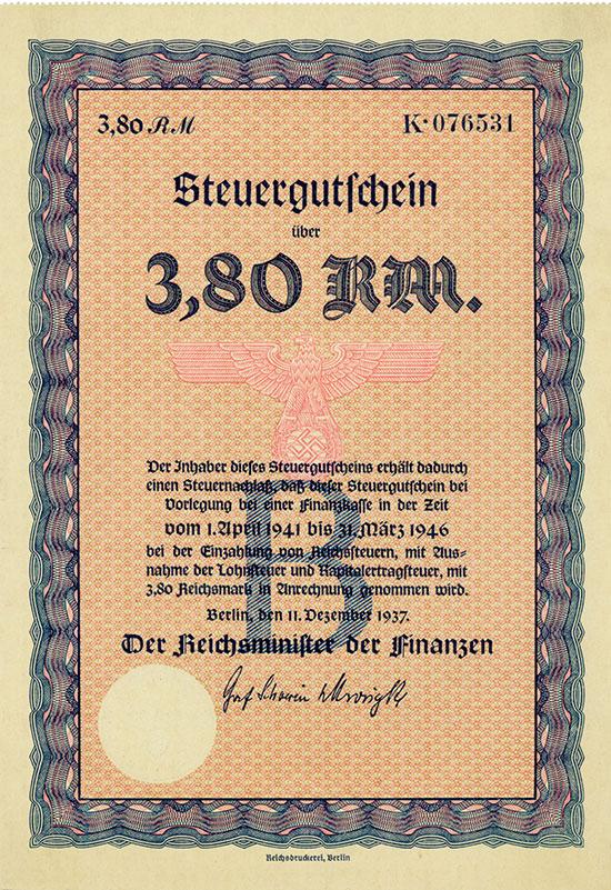 Deutsches Reich: Steuergutschein Serie B 3,80 RM 1937 [5 Stück]