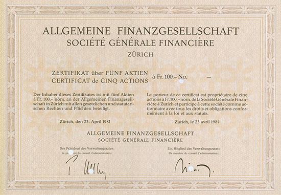 Allgemeine Finanzierungsgesellschaft AG / Société Générale Financière