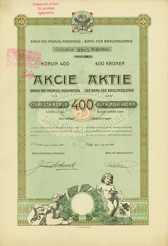 Bank für Brauindustrie / Banka pro Průmysl Pivovarsky