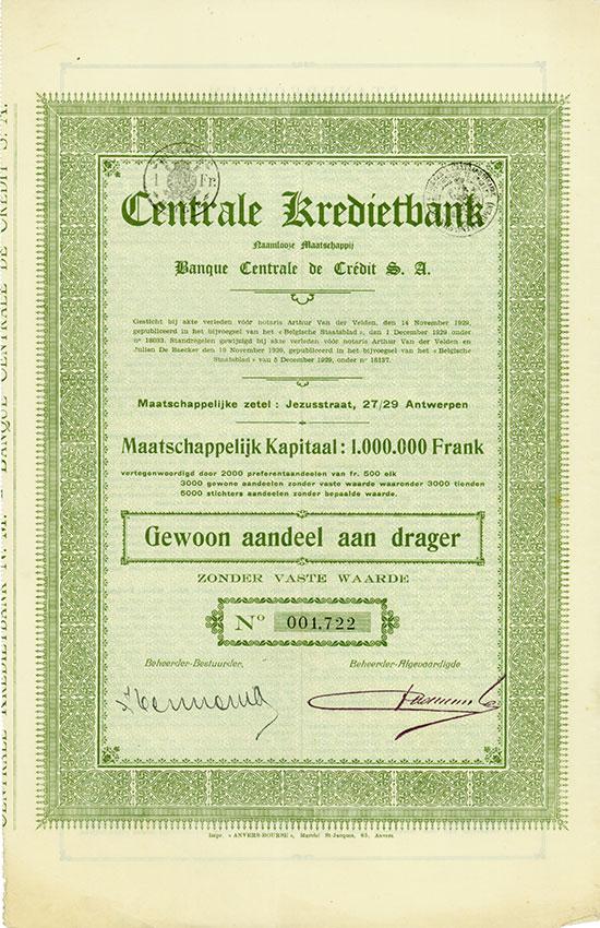 Centrale Kredietbank Naamlooze Maatschappij / Banque Centrale de Crédit S. A.