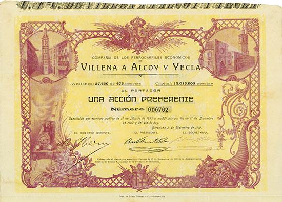 Compañia de los Ferrocarriles Económicos de Villena á Alcoy y Yecla