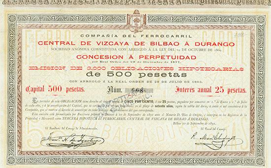 Compañía del Ferrocarril Central de Vizcaya de Bilbao á Durango