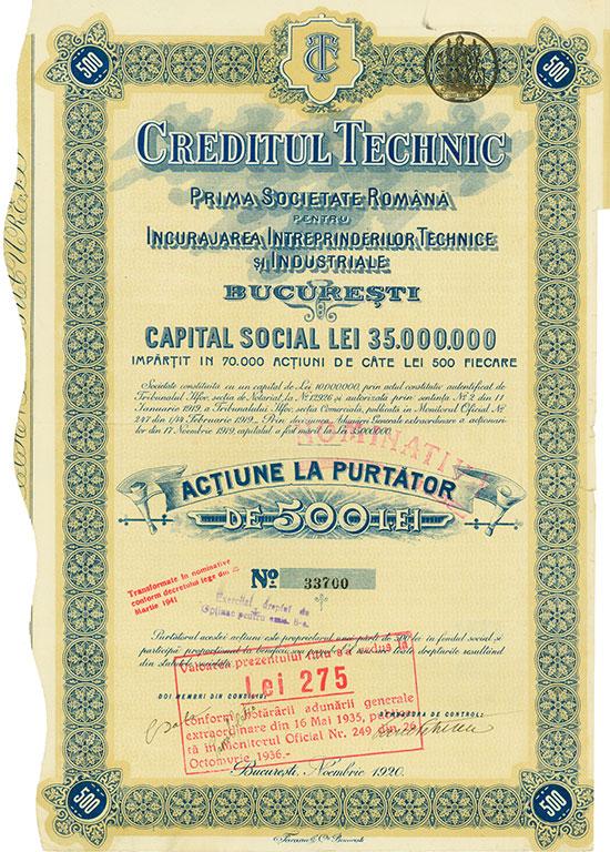 Creditul Technic Prima Societate Română pentru Incurajarea Intreprinderilor Technice şi Industriale