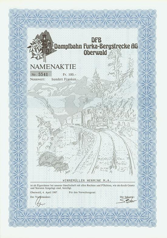 DFB Dampfbahn Furka-Bergstrecke AG [2 Stück]