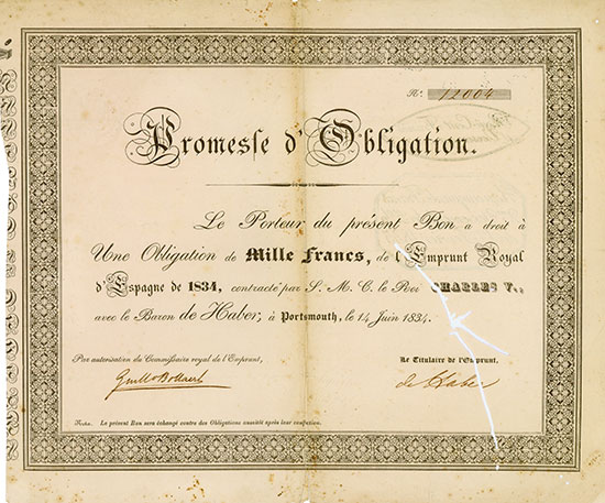 Emprunt Royal d'Espagne de 1834