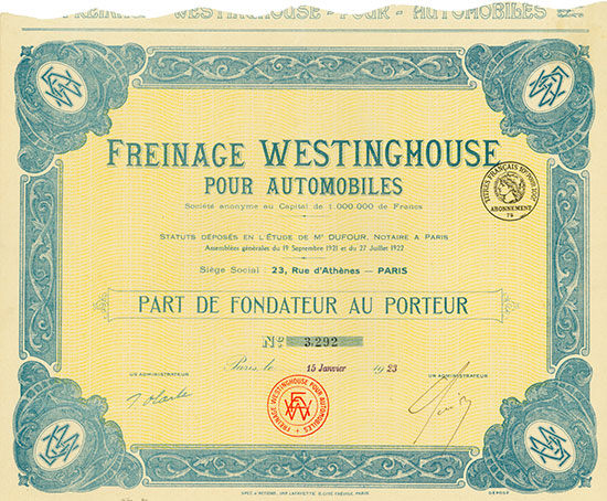 Freinage Westinghouse pour Automobiles