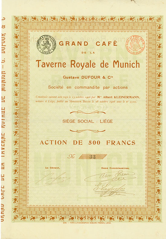 Grand Café de la Taverne Royale de Munich Gustave Dufour & Cie.