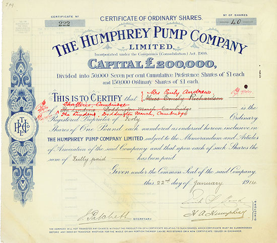 Humphrey Pump Company Limited