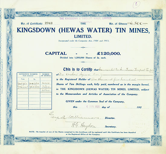 Kingsdown (Hewas Water) Tin Mines, Limited