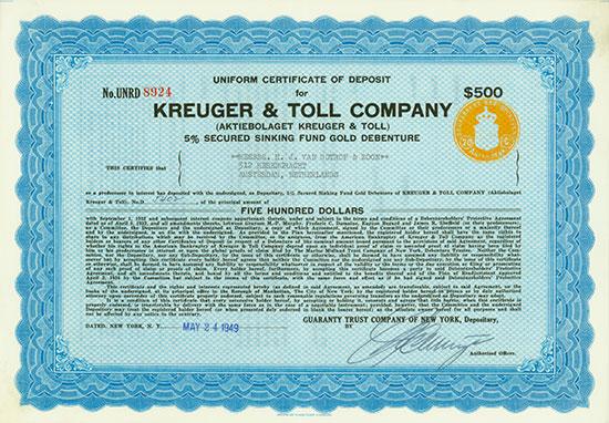 Kreuger & Toll Company (Aktiebolaget Kreuger & Toll) [2 Stück]