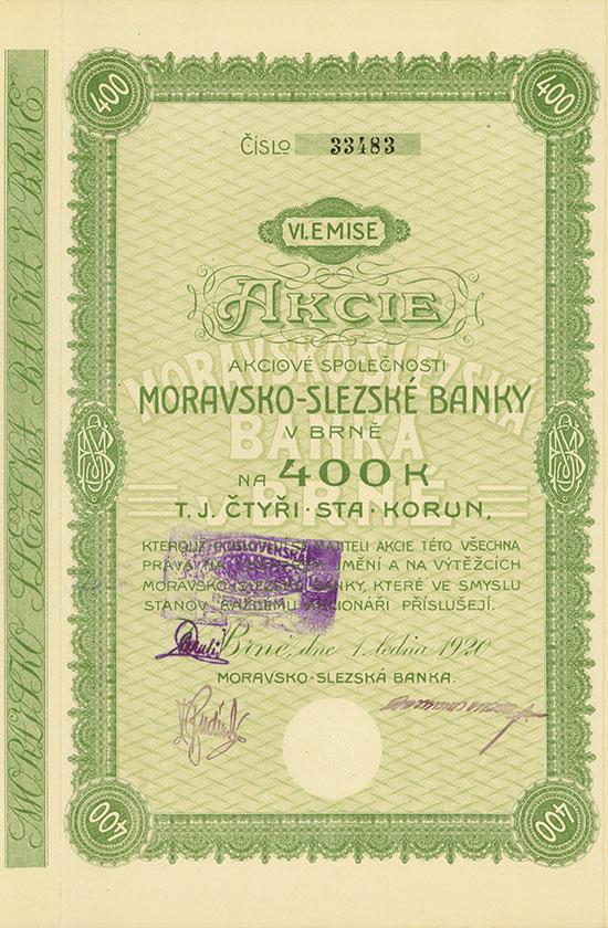 Mährisch-Schlesische Bank / Moravsko-Slezská Banka