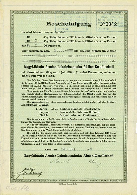 Nagykikinda-Arader Lokaleisenbahn AG