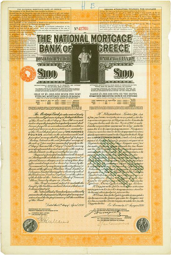 National Mortgage Bank of Greece [3 Stück]