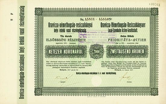 Oravicza-Németbogsán-Resiczabányaer Local-Eisenbahn AG