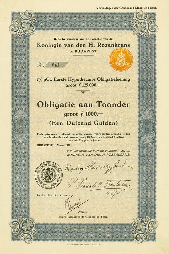 R. K. Kerkbestuur van de Parochie van die Koningin van den H. Rozenkrans te Budapest (Kirchenvorstand der Pfarrgemeinde Königin des Heiligen Rosenkranzes)