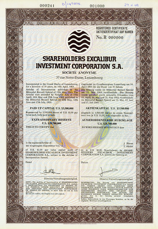 Shareholders Excalibur Investment Corporation S.A.