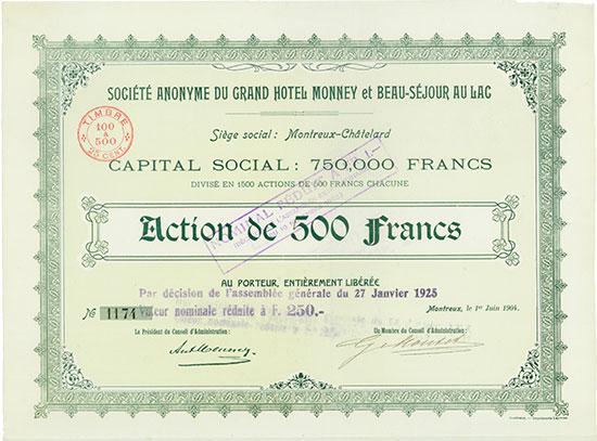 Société Anonyme du Grand Hotel Monney & Beau-Séjour au Lac