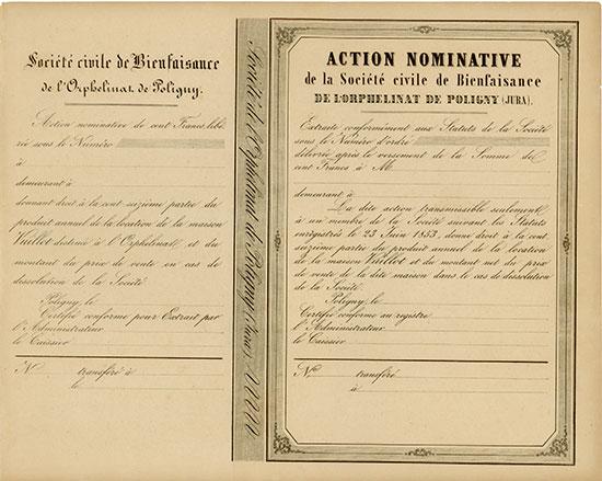 Société Civile de Bienfaisance de l'Orphelinat de Poligny (Jura)