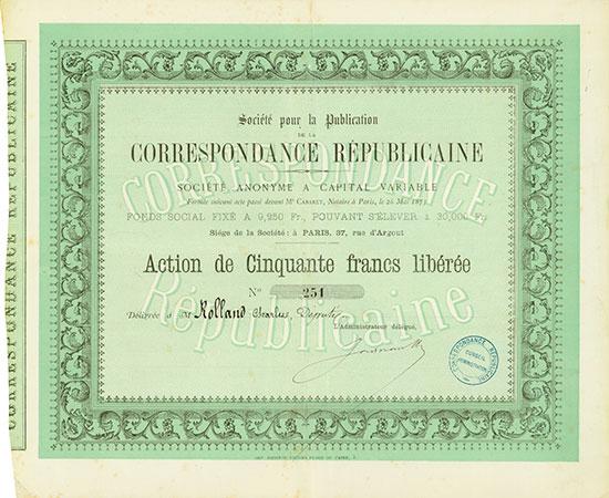 Société pour la Publication de la Correspondance Républicaine