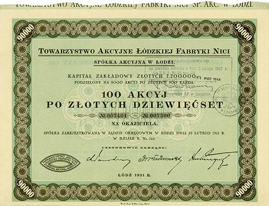 Towarzystwo Akcyjne Łódzkiej Fabryki Nici / Lodz Thread Manufacturing Company Ltd.