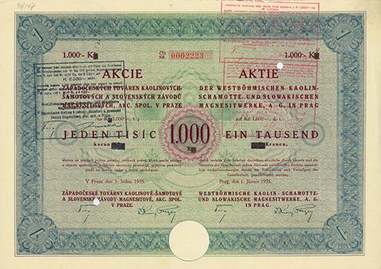 Westböhmische Kaolin-Schamotte- und Slowakische Magnesitwerke, A. G. in Prag