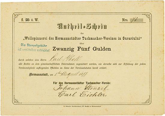 Wollspinnerei des Hermannstädter Tuchmacher-Vereines in Gurariului