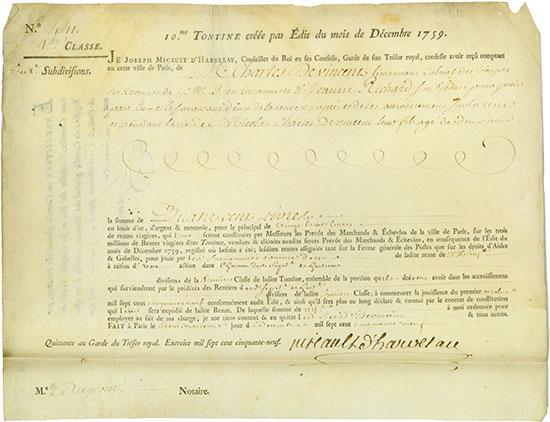 Rente Viagére - Edit du mois de Juillet 1723 / 10.e Tontine créee par Édit du mois de Décembre 1759