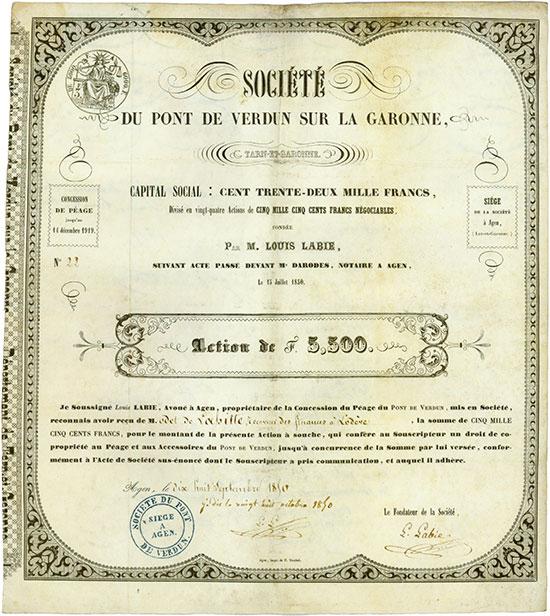 Société du Pont de Verdun sur la Garonne, Tarn-et-Garonne