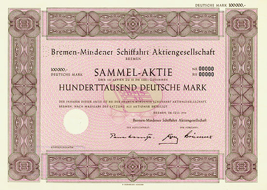 Bremen-Mindener Schiffahrt AG [3 Stück]